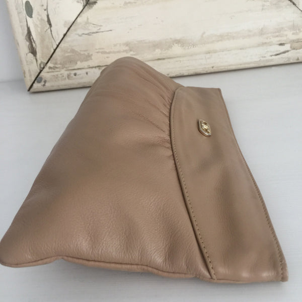 VINTAGE Genuine LEATHER Clutch Handbag Brown Tan 80's Style - Pink Peacock  - 3