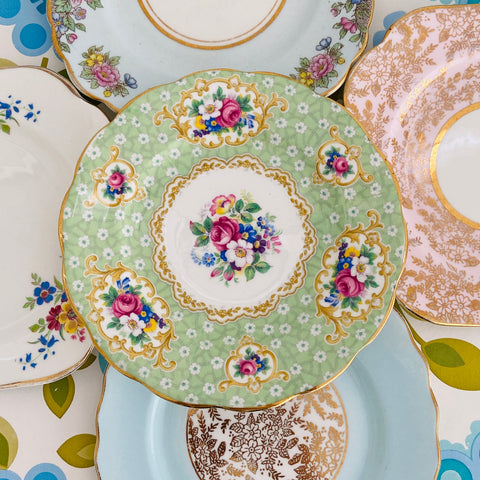 Cute Stack of Mismatched Vintage Floral Plates