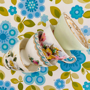 Cute Stack of Mismatched Vintage Floral Tea Cups