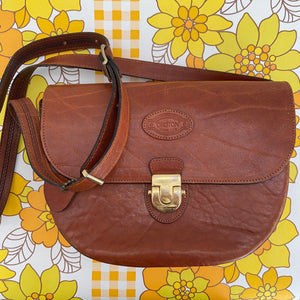 OROTON Brown Leather Vintage Old School Bag LONG STRAP