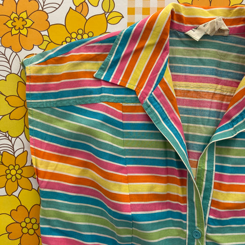 VINTAGE Retro Candy Stripe Cotton DRESS 70's
