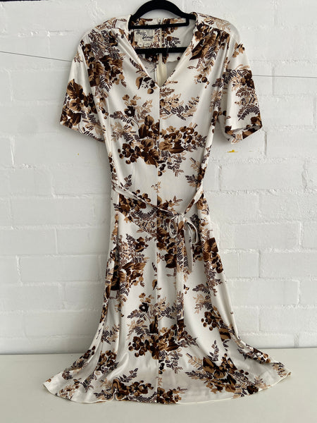 VINTAGE Brown Floral Summer Dress Retro Wardrobe