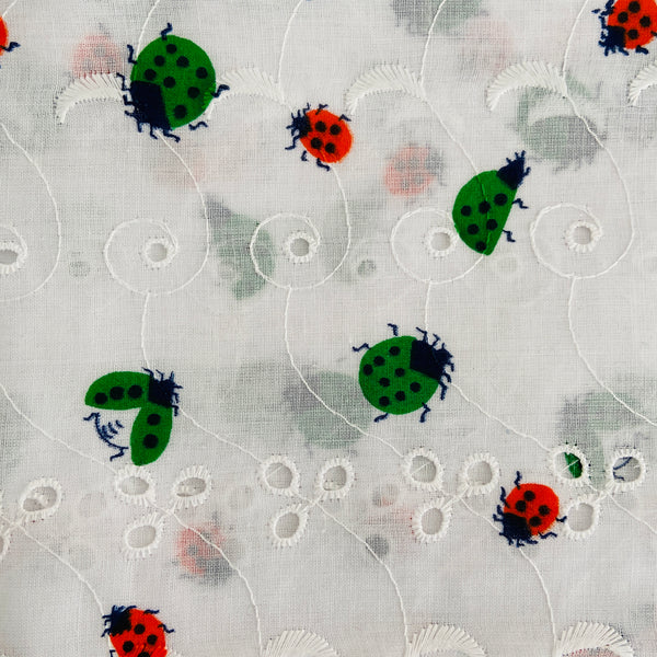280cms ADORABLE Vintage Bug Embroidered Cotton Print