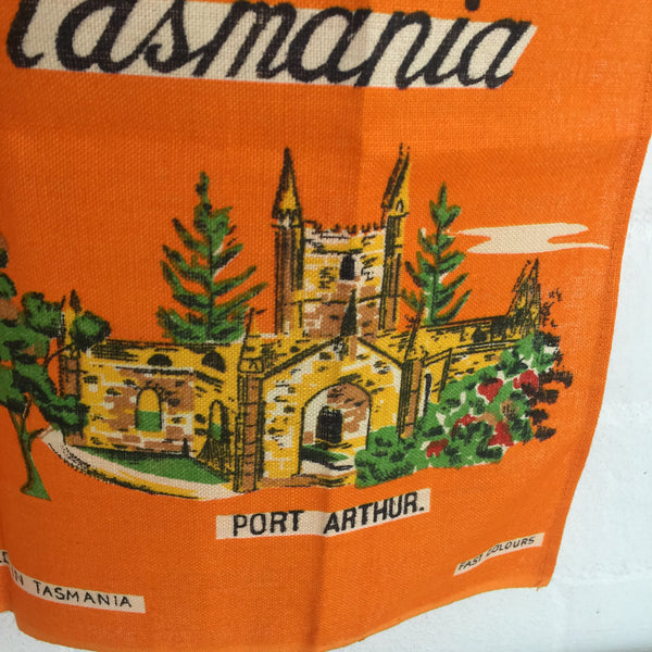 Vintage Linen TASMANIA Tea Towel Bright Retro Orange Collectable