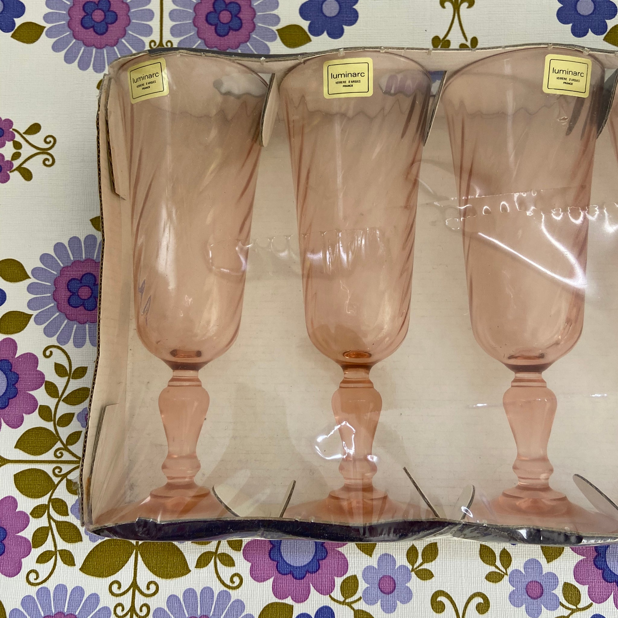 Six BOXED Vintage Champagne GLASSES Flute PINK Glass LUMINARK