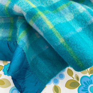 Beautiful Bright Blue Blanket VINTAGE Checked WOOL