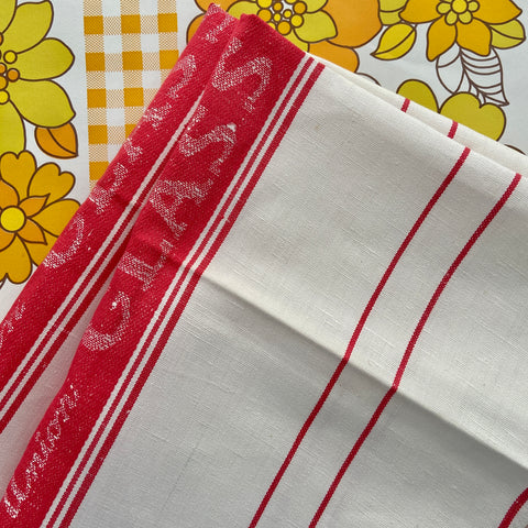 Pair Red VINTAGE Unused Tea Towels LINEN Blend Kitchen