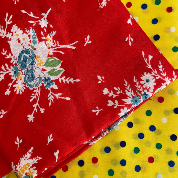 150cms Bright Cotton Polka Dot Fabric Vintage Quilting Project