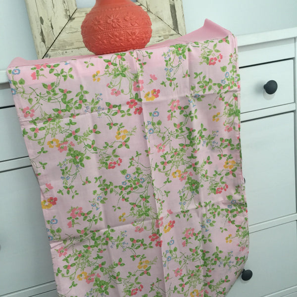 UNUSED Vintage Pair FLORAL Pillow CASES Cotton Pink GIRLS ROOM - Pink Peacock  - 6