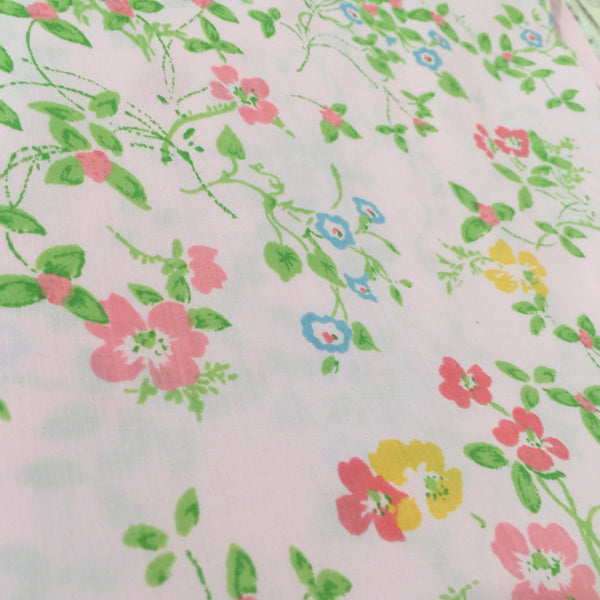 UNUSED Vintage Pair FLORAL Pillow CASES Cotton Pink GIRLS ROOM - Pink Peacock  - 2