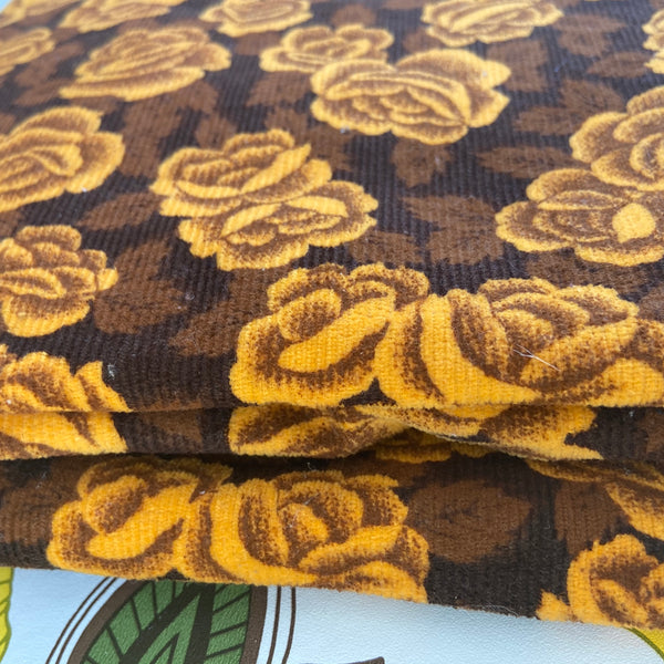 BEAUTIFUL Retro Vintage Floral Ribbed Fabric Upholstery LARGE