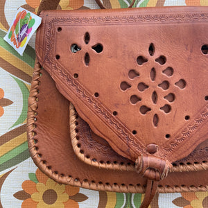 New OLD Stock Genuine Leather Tooled Handbag