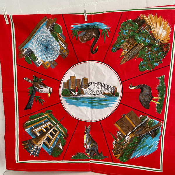 Cool Vintage Souvenir Table Cloth BRIGHT Crisp RED