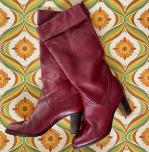 AMAZING Vintage BOOTS Genuine LEATHER 80's Stacked Heel