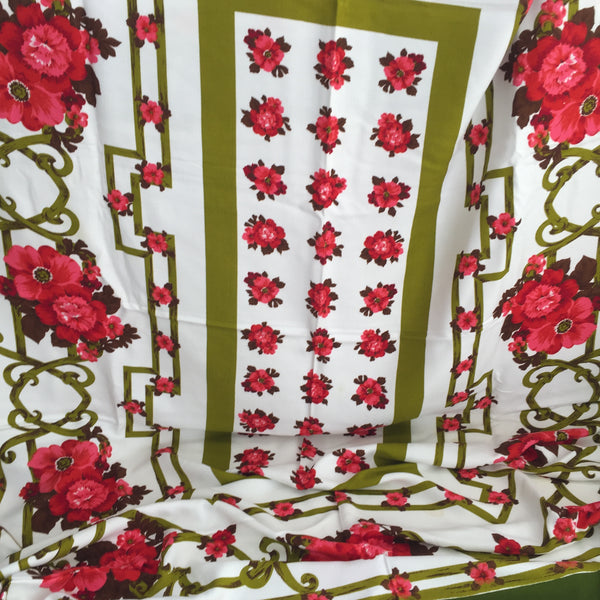 Cute Cotton Table CLOTH Vintage Tablecloth Floral Picnic Camping Caravan