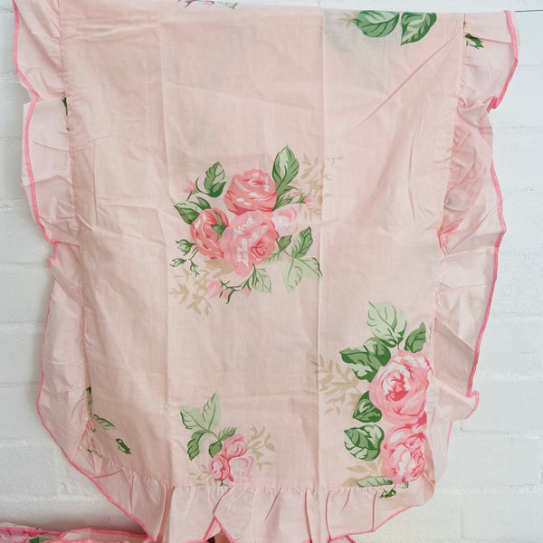 UNUSED Vintage QUILT Cover Frill Pretty PINK Floral Cotton