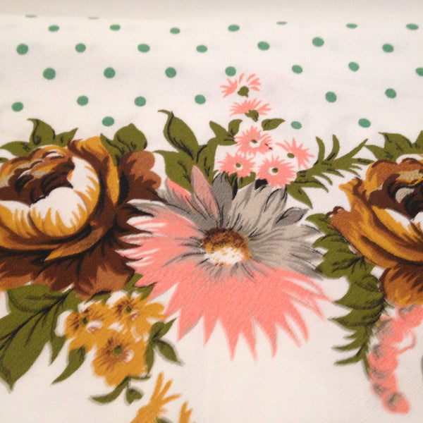 Flowers & Polka Dots the Perfect Combination on a Vintage Table Cloth - Pink Peacock  - 2