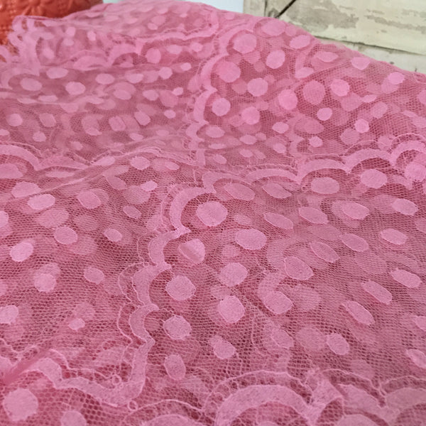 FRANCE Vintage LACE Pink Polka DOT Decorative Edge LARGE Stunning over 4 METRES - Pink Peacock  - 2