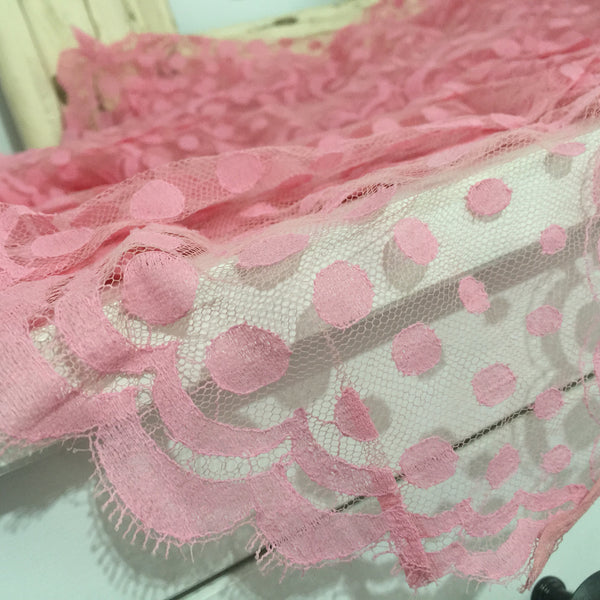 FRANCE Vintage LACE Pink Polka DOT Decorative Edge LARGE Stunning over 4 METRES - Pink Peacock  - 4