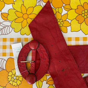 RED Vintage 80's WIDE Genuine LEATHER BELT Festival Club