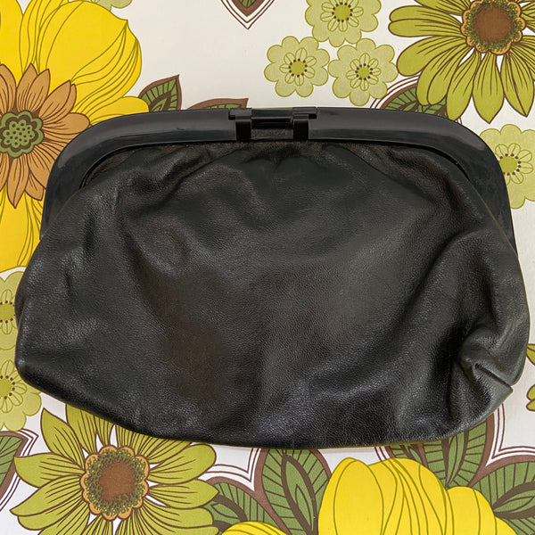80's Chic Vintage LEATHER Clutch Handbag Clubbing Bag