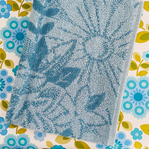 PALM BEACH All Cotton UNSUED Hand Towel RETRO BLUE