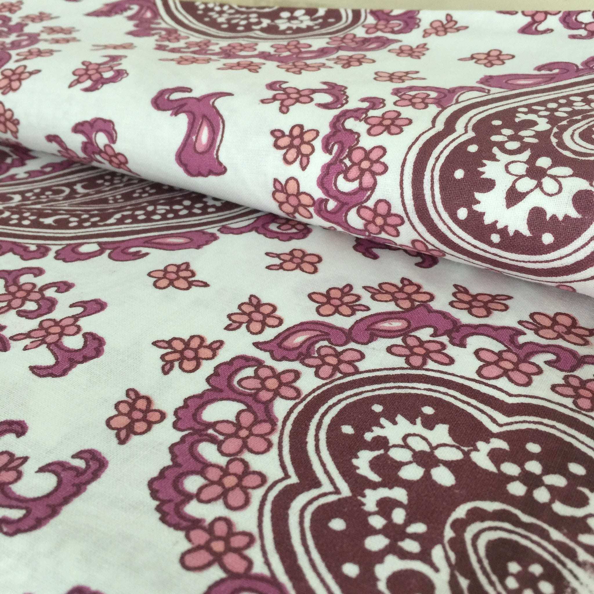 CRISP UNUSED VINTAGE Cotton Sheets x ONE PAISLEY Print FAB FABRIC - Pink Peacock  - 1