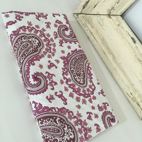CRISP UNUSED VINTAGE Cotton Sheets x ONE PAISLEY Print FAB FABRIC - Pink Peacock  - 5