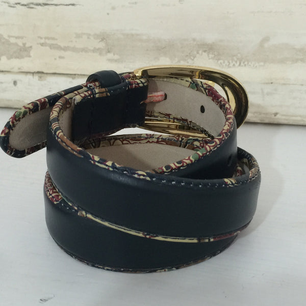 VINTAGE New Belt BOHO Pattern TRIM Genuine LEATHER with TAG - Pink Peacock  - 3