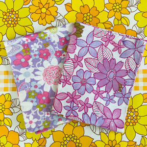 Pair of MISMATCHED Pillow CASES Cotton RETRO Print ADORABLE