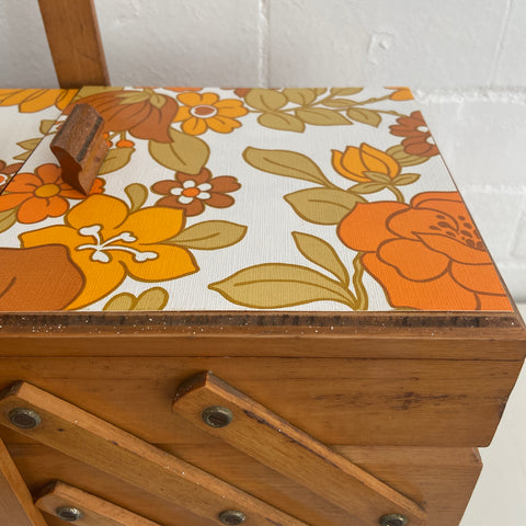Timber Mid Century Sewing BOX RETRO Craft Room