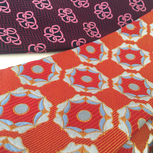 COOL RETRO VINTAGE MENS TIE 70'S HIGH QUALITY FUNKY - Pink Peacock  - 3