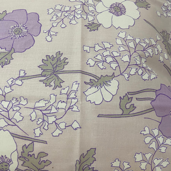 WHITE ROSE Fine IMPORTED COTTON Vintage Sheet FABRIC