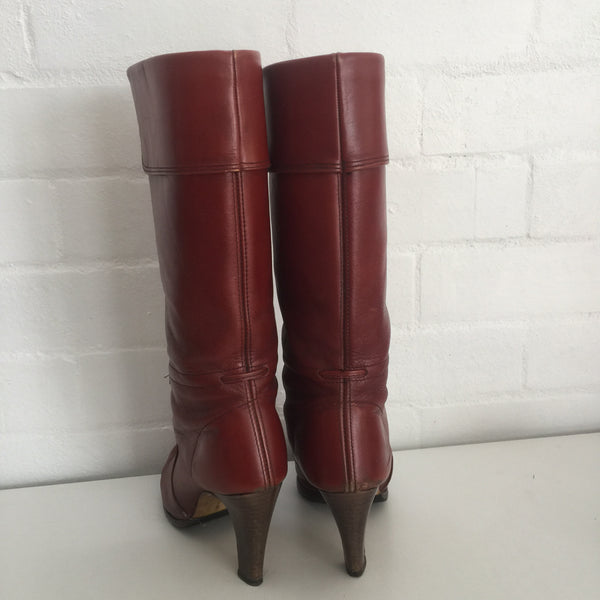 Vintage Brown Genuine Leather Boots 70's Stacked Heel
