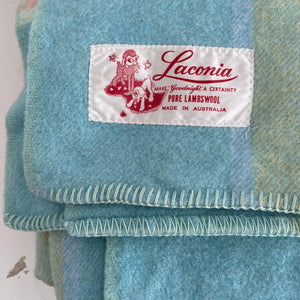 LACONIA BEAUTIFUL SOFT PLUMP BLANKET Wool Checked BRIGHT CLEAN