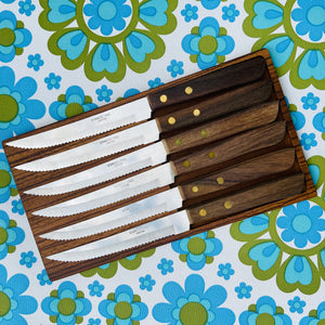 JAPAN Stainless STEEL Mid Century 70's Knives Hanging UNUSED