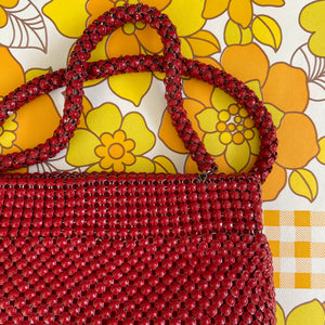 VINTAGE RED Mesh HANDBAG Amazing Bag RETRO Chic Bag