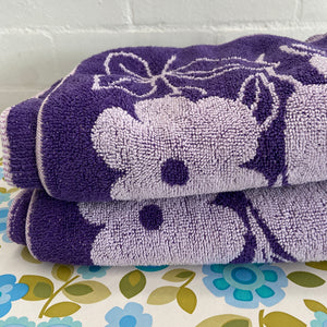 BRIGHT Purple Vintage Cotton Towels RETRO