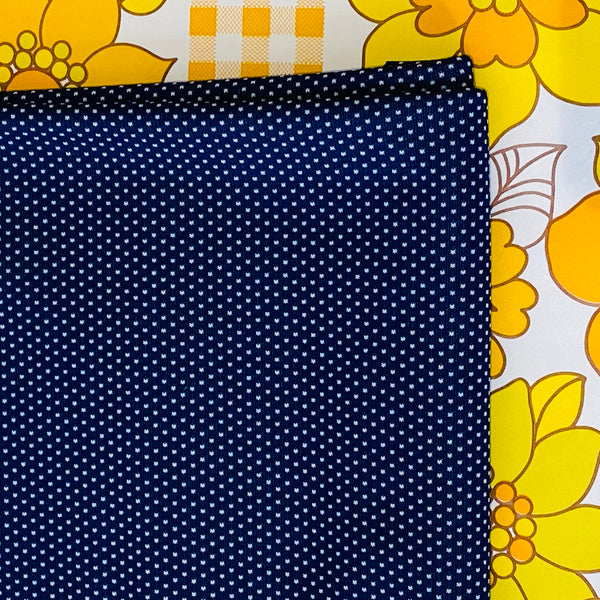 Vintage Navy Polka Dot Fabric ~ Craft Sewing