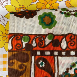 UNUSED Large Retro Print Curtains Homewares VINTAGE 70's HOME