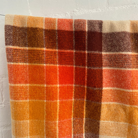 BEAUTIFUL Vintage Wool Checked Blanket Unique Colours 70's Home