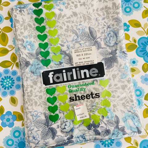 Beautiful Vintage UNUSED Blue Floral Cotton Sheet