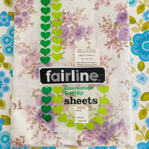 UNUSED All Cotton Sheet Floral Purple Sewing BEDROOM