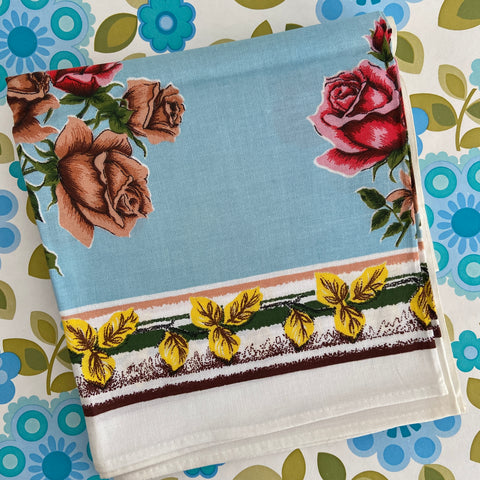 UNUSED Adorable Vintage Pretty Blue Floral Card Table Cloth CARAVAN