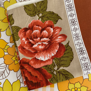 Large Brown Floral Table Cloth VINTAGE KITCHEN Unused