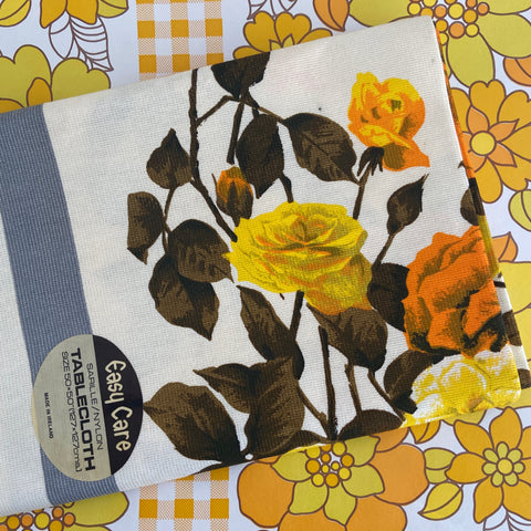 STUNNING Vintage Floral Yellow Table Cloth UNUSED Tag