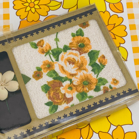 BOXED Face Washer Hand Towel VINTAGE Floral Charming Yellow