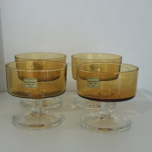 Retro 60s-70s Amber clear mid-century Luminarc glasses x 4 Made in France - Pink Peacock  - 3