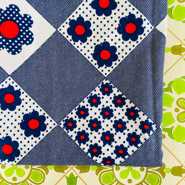 ALL COTTON Vintage BRIGHT Blue & Red Fabric CRAFT Adorable