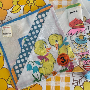 ADORABLE Unused Vintage Hankies SET OF FOUR Children's PRINTS